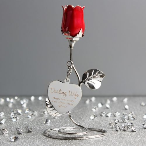 Personalised Red Rose Anniversary Gift Ornament for Wife or Girlfriend